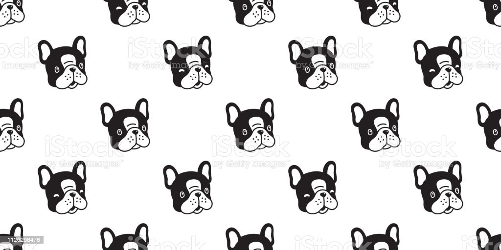 Dog Seamless Pattern French Bulldog Vector Scarf Isolated Cartoon Tile Background Repeat Wallpaper Black Stock Illustration Download Image Now Istock