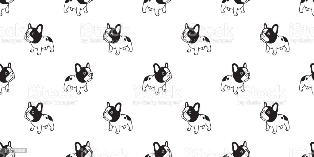 Dog Seamless Pattern French Bulldog Vector Scarf Isolated Cartoon Repeat Wallpaper Tile Background Doodle Black Stock Illustration Download Image Now Istock
