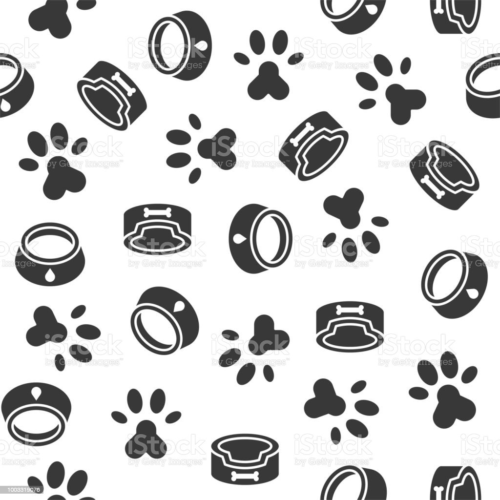 Dog Seamless Pattern Theme Dish Paw Foot Print For Use As Wallpaper