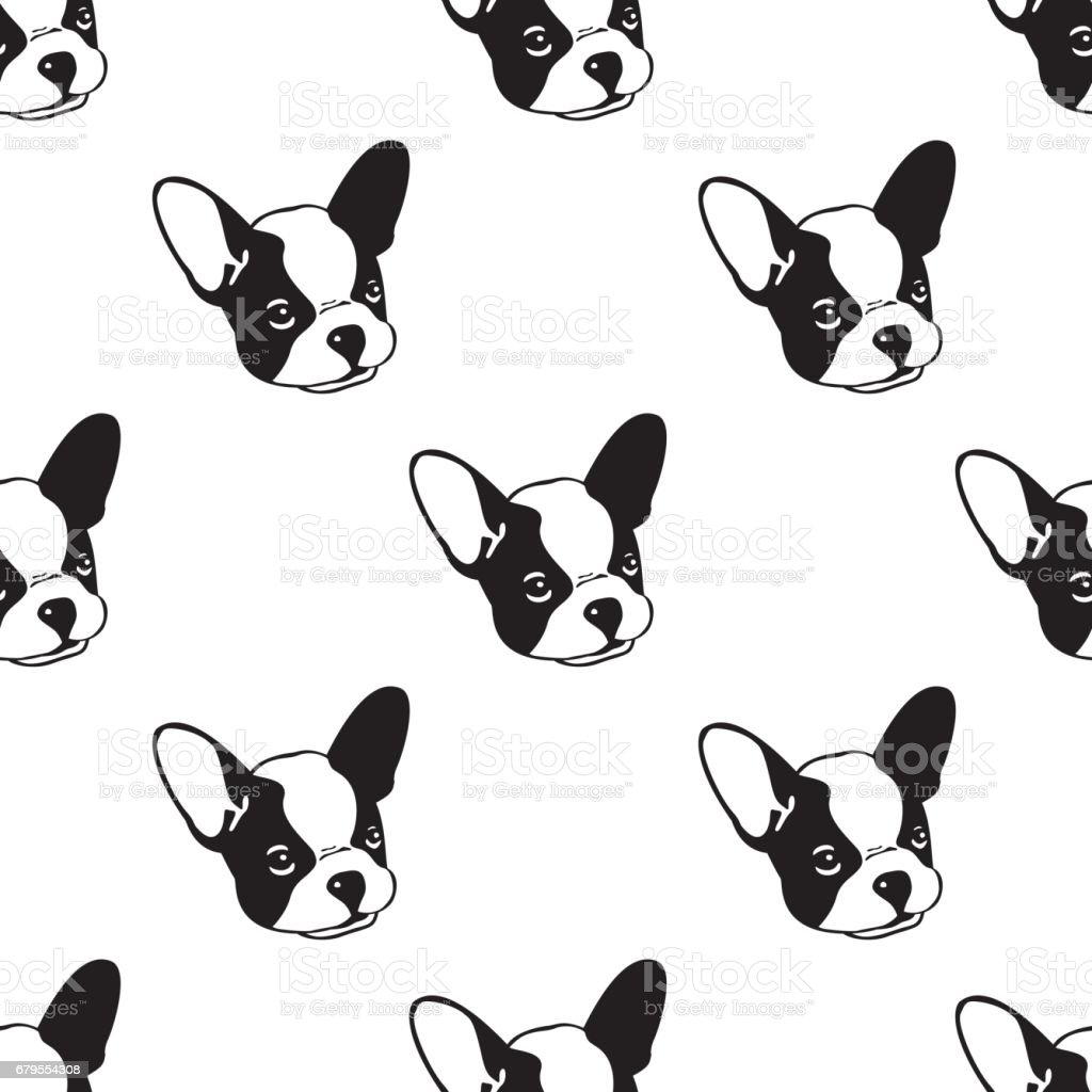Dog Seamless pattern with french bulldog white векторная иллюстрация