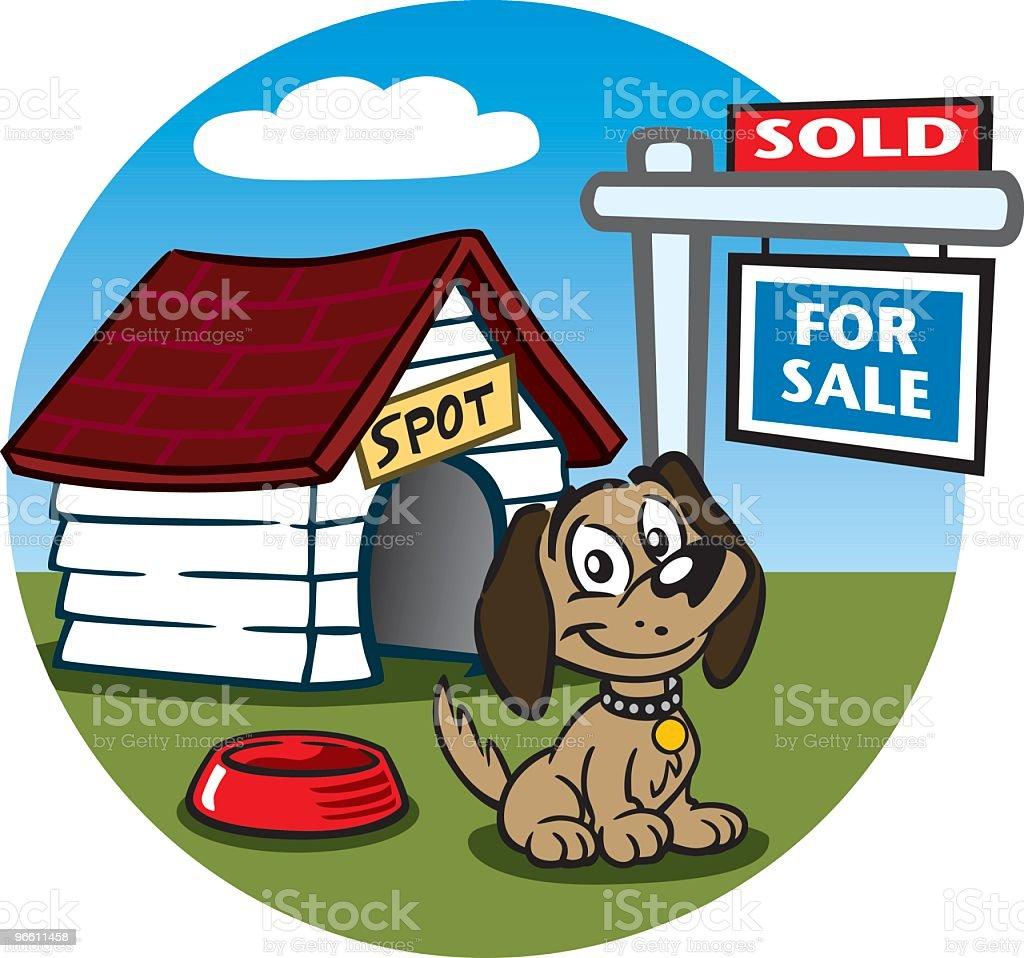 Dog Selling His Home - Royaltyfri Arkitektur vektorgrafik