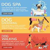 Dog service. Vector flat banners set