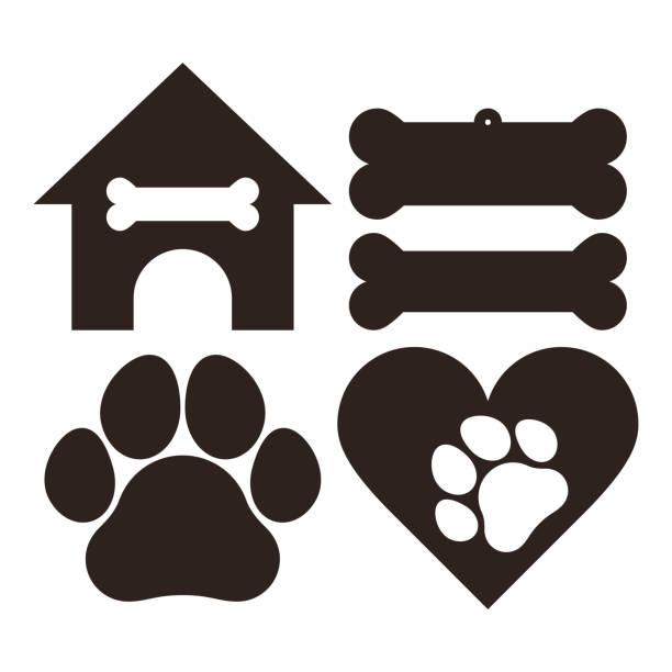 Dog set symbols Dog set symbols isolated on white background paw stock illustrations