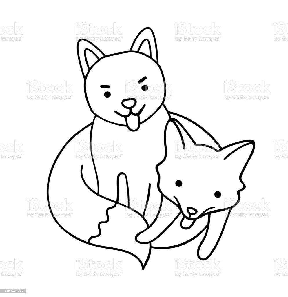 Hund Shiba Und Schwarzer Fuchs Nette Zeichentrickfiguren Stock Vektor Art  und mehr Bilder von Ausmalen