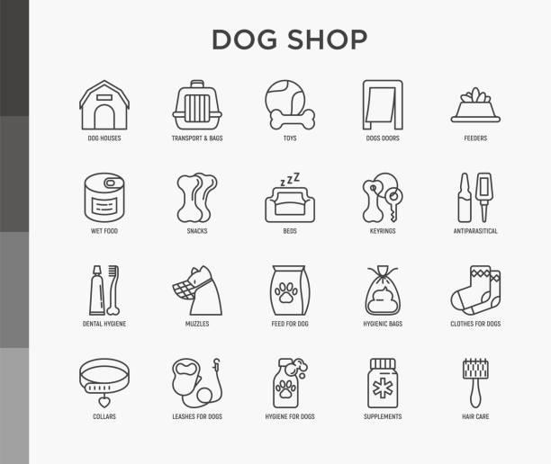 ドッグショップの細い線のアイコンセット:輸送用バッグ、フィーダー、おもちゃ、ドア、歯科衛生、銃口、スナック、衛生的なバッグ、ドライフード、ウェットフード、襟、ヘアケア、サプ - ペットショップ点のイラスト素材/クリップアート素材/マンガ素材/アイコン素材