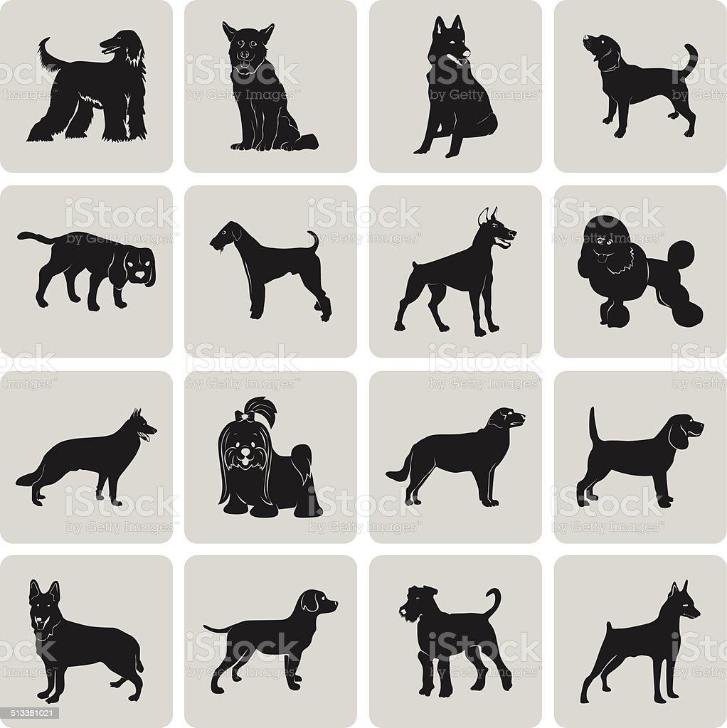 Hund Silhouette Schwarz Symbol Symbol gruppierten für einfache Bearbeitung set1. – Vektorgrafik