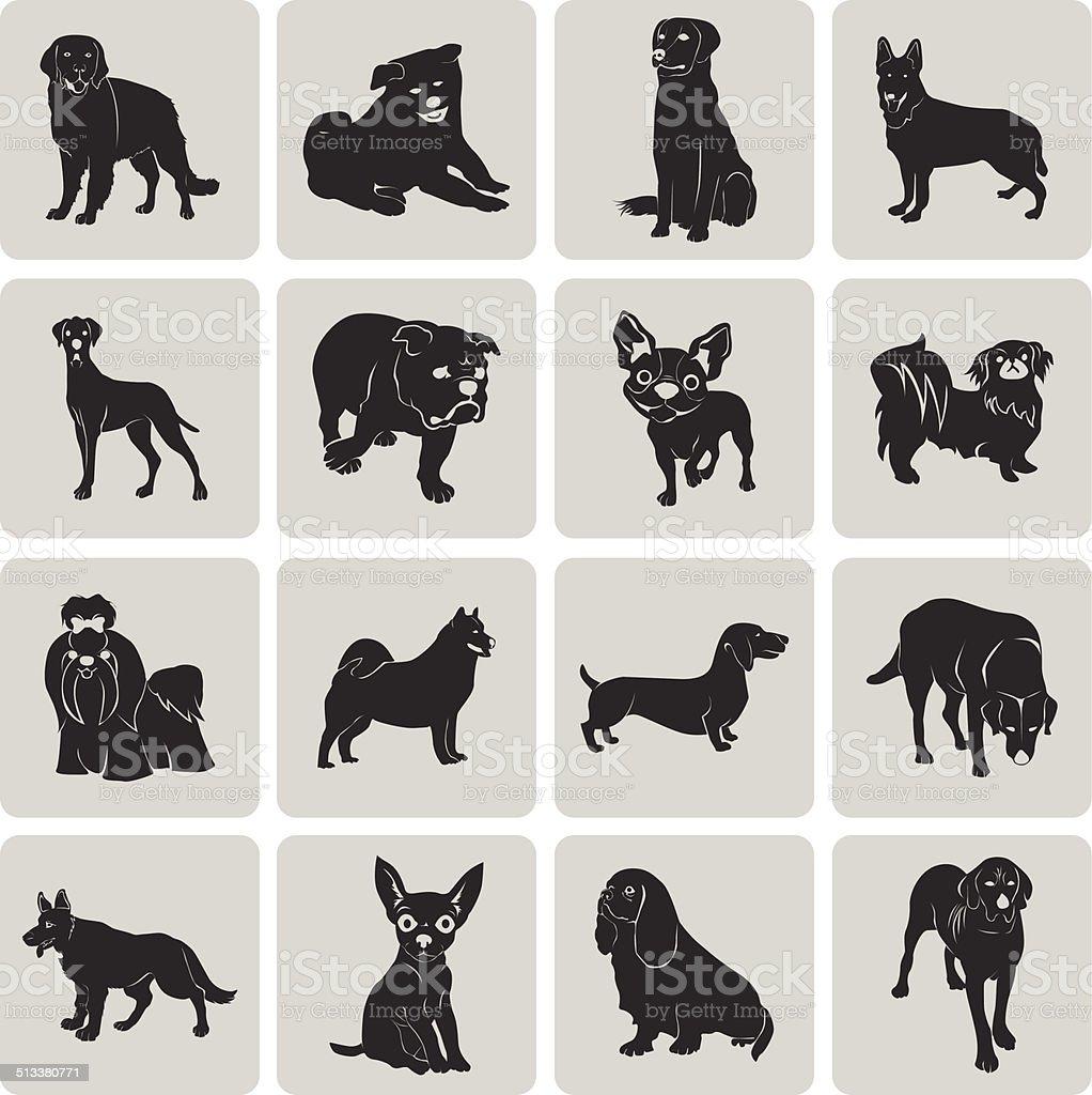 Hund Silhouette Schwarz Symbol Symbol gruppierten für einfache Bearbeitung set2. – Vektorgrafik