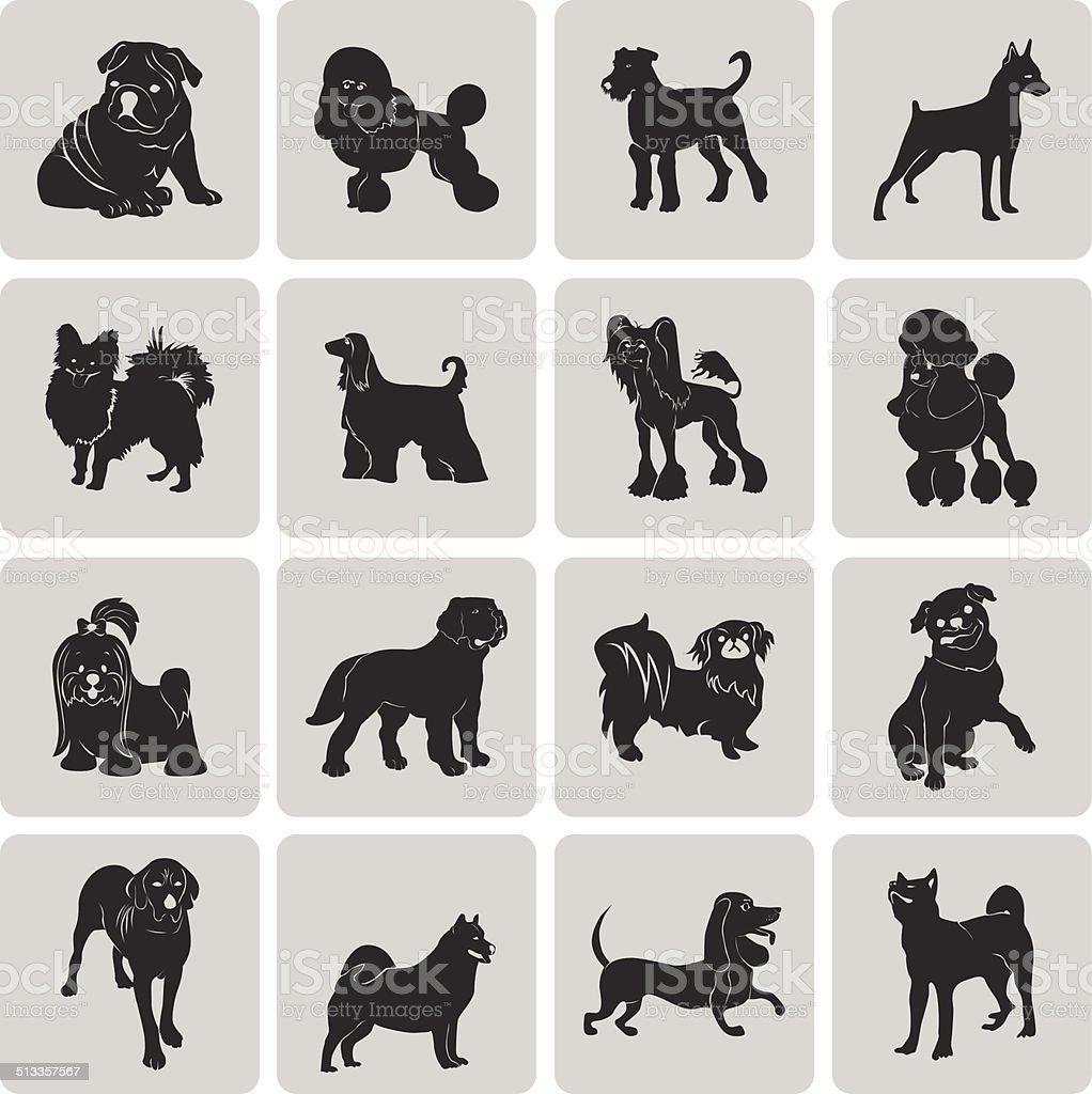 Hund Silhouette Schwarz Symbol Symbol Gruppierten Für Einfache ...
