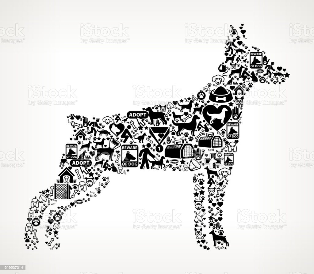 Ilustración de Dog Silhouette Dog And Canine Pet Black Icon Pattern ...