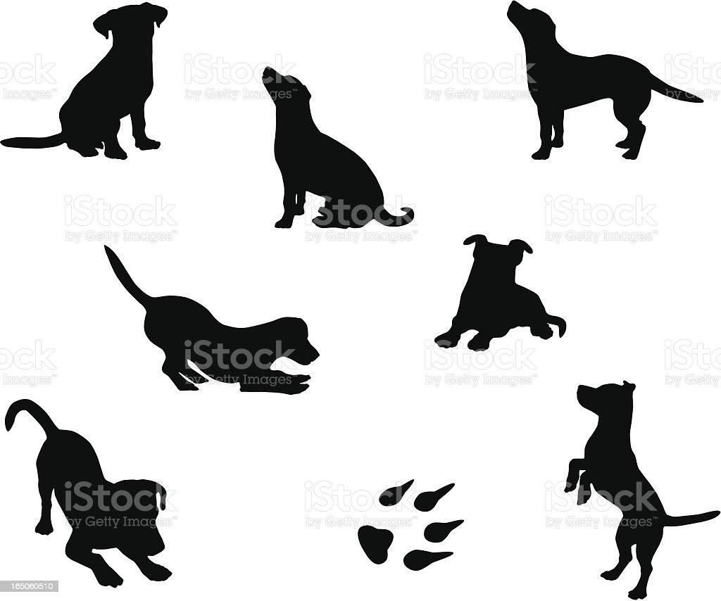 Siluetas de perros - ilustración de arte vectorial