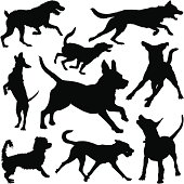 Dogs running and playing. Different breeds, good detail on fur. Download also includes Illustrator CS3 file and high resolution XXXL jpeg (7105 x 7118) Thanks!