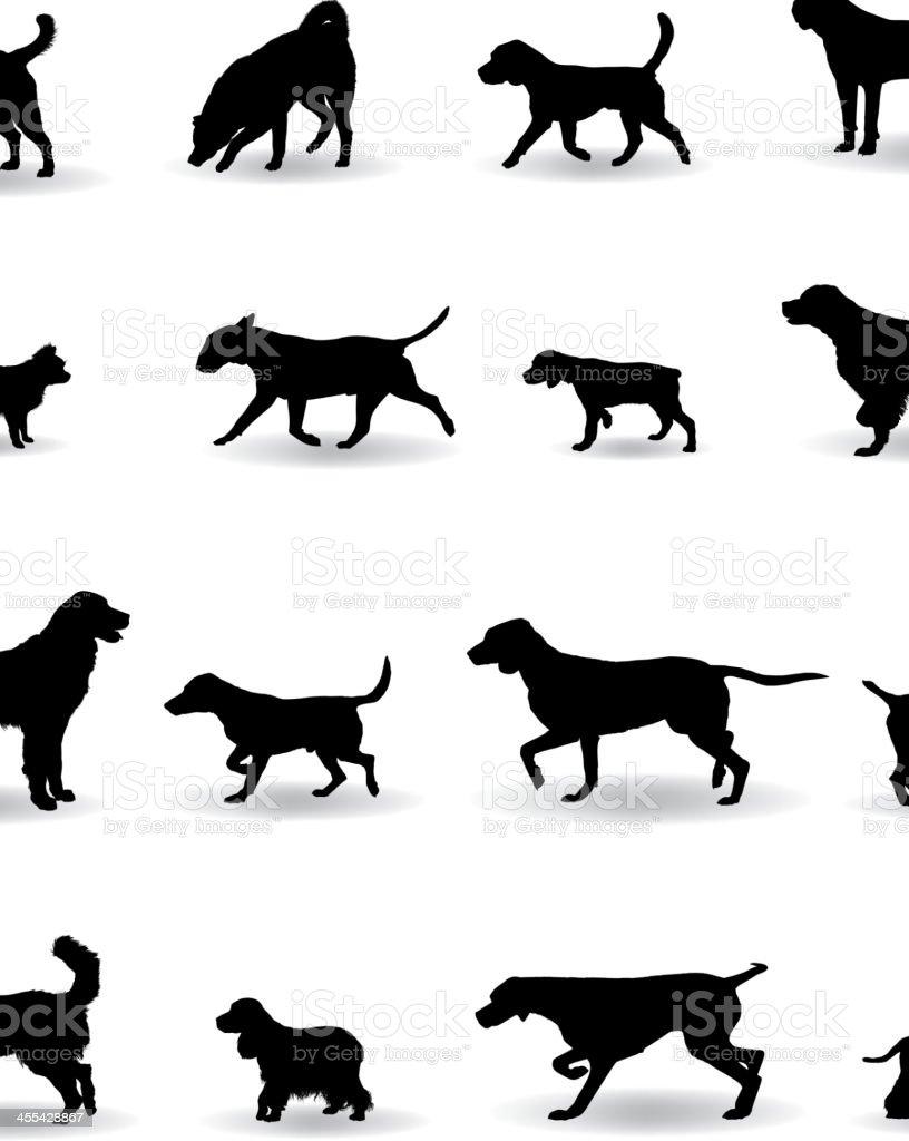 Dog Silhouettes vector art illustration