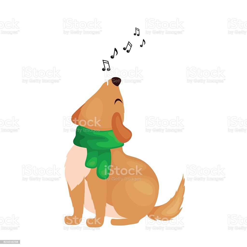 Dog Singing Christmas Songs And Jingle Bells Music On Winter Stock Illustration Download Image Now Istock