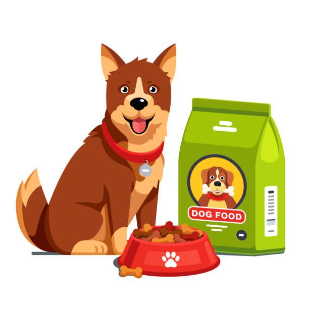 ilustrações de stock, clip art, desenhos animados e ícones de dog sitting next to full dry food bowl and bag package. flat style vector - dog food