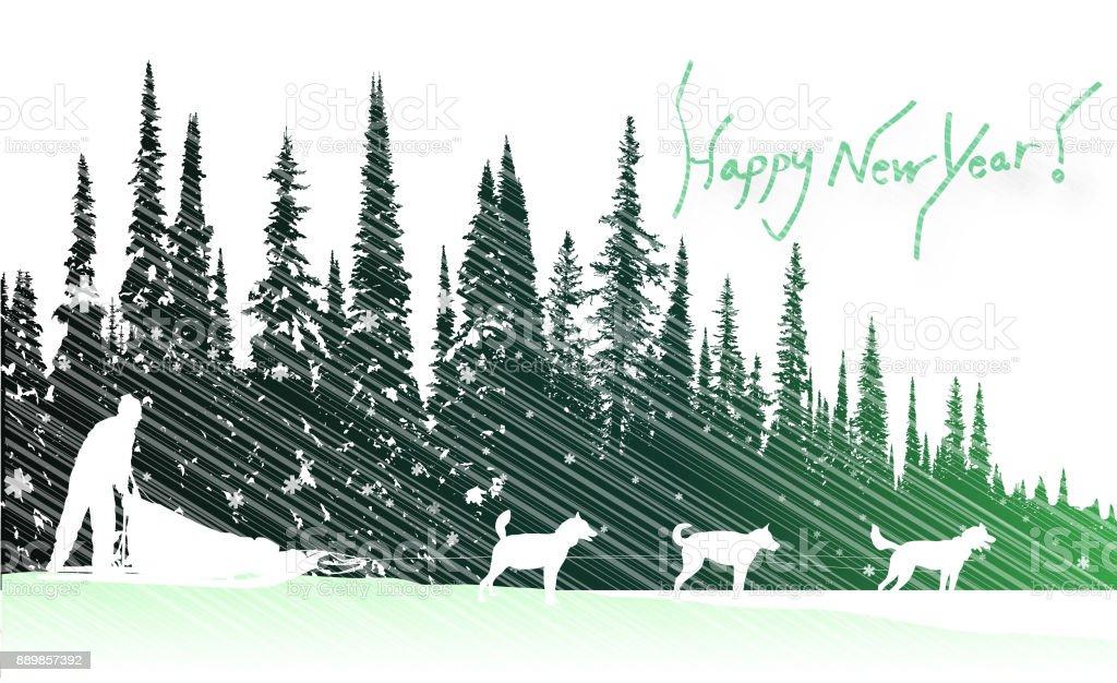 Dog Sled Holiday Wishes vector art illustration