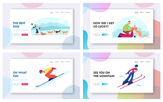 Dog Sledding and Ski Jumping Winter Sport Website Landing Page Set. Happy Character Riding Dogs Team, Jumping on Skis During Winter Time Vacation Web Page Banner. Cartoon Flat Vector Illustration