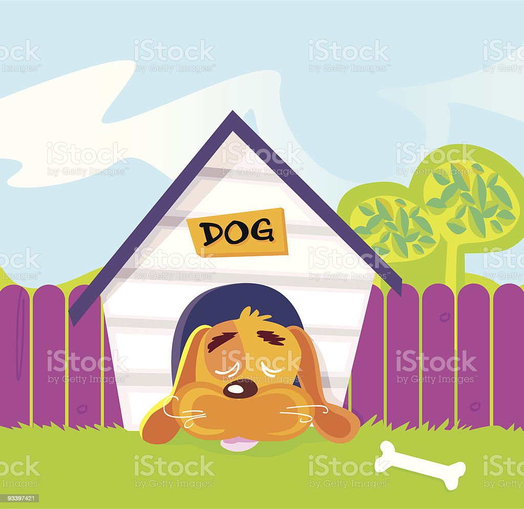 Dog sleeping in doghouse royalty-free dog sleeping in doghouse stock vector art & more images of animal