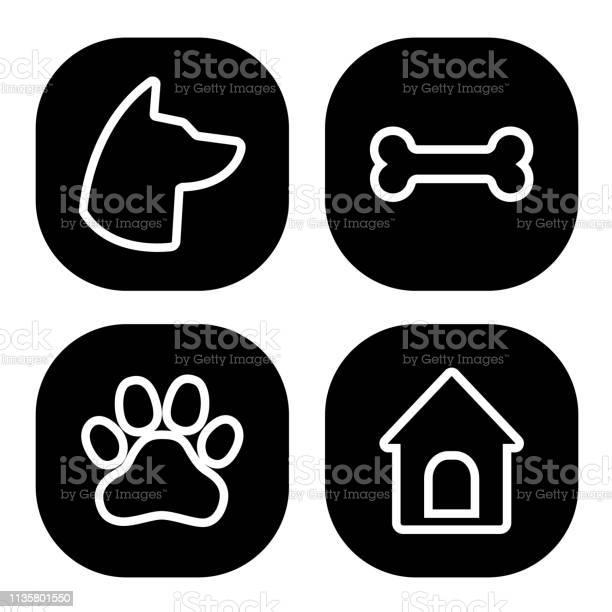 Dog square icons set dog head paw bone dog house vector vector id1135801550?b=1&k=6&m=1135801550&s=612x612&h=fnv0vrdebv g3nt1mm8wdypbfrnp0bg flhamdfyrbq=