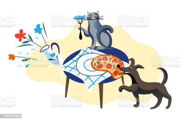Dog stealing pizza from table and cat eating fish vector id1192673960?b=1&k=6&m=1192673960&s=612x612&h=jke yv94saih1dolrdf1yba4m6zoqxe5xomfv2aesgm=
