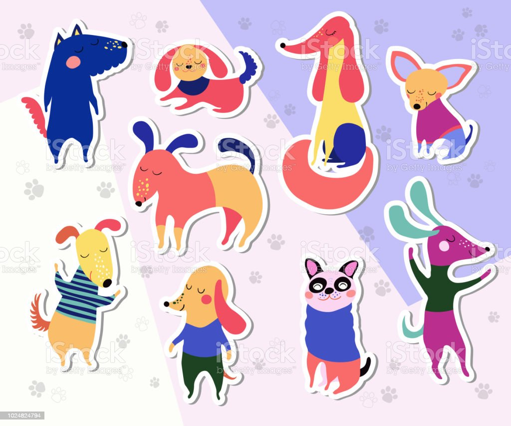 Dog stickers collection