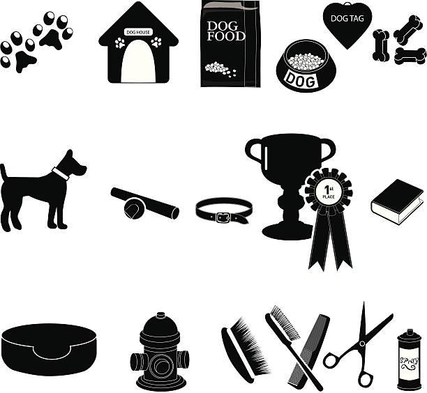 hund sachen set - hundebetten stock-grafiken, -clipart, -cartoons und -symbole