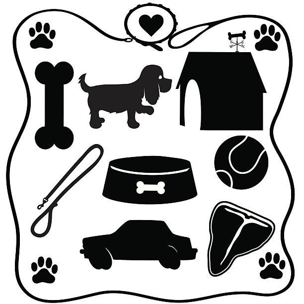 dog stuff silhouettes - dog treats stock illustrations