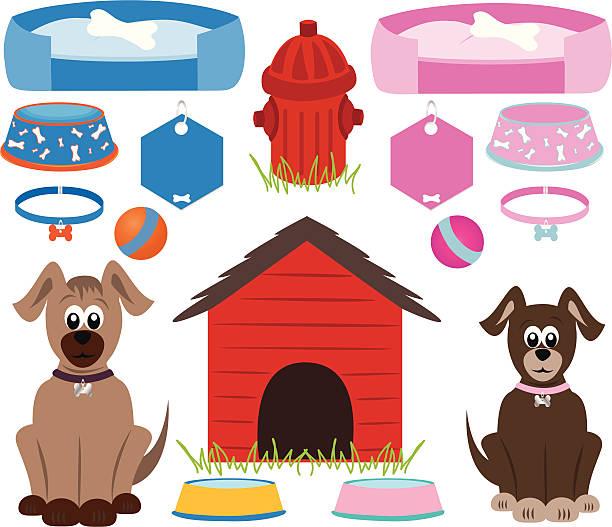 hund zubehör - hundebetten stock-grafiken, -clipart, -cartoons und -symbole
