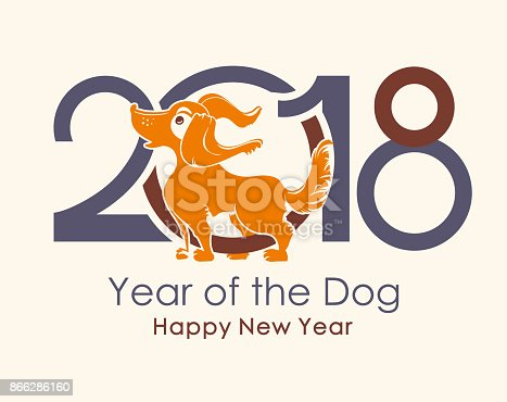 Dog Symbol Of 2018 On The Chinese Calendar Stock Vector Art More