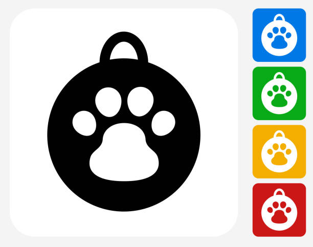 hundemarken symbol flaches grafikdesign - hundehalsbänder stock-grafiken, -clipart, -cartoons und -symbole