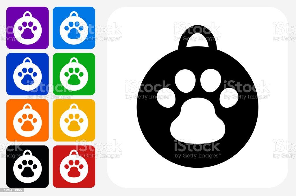 Dog Tag Icon Square Button Set vector art illustration