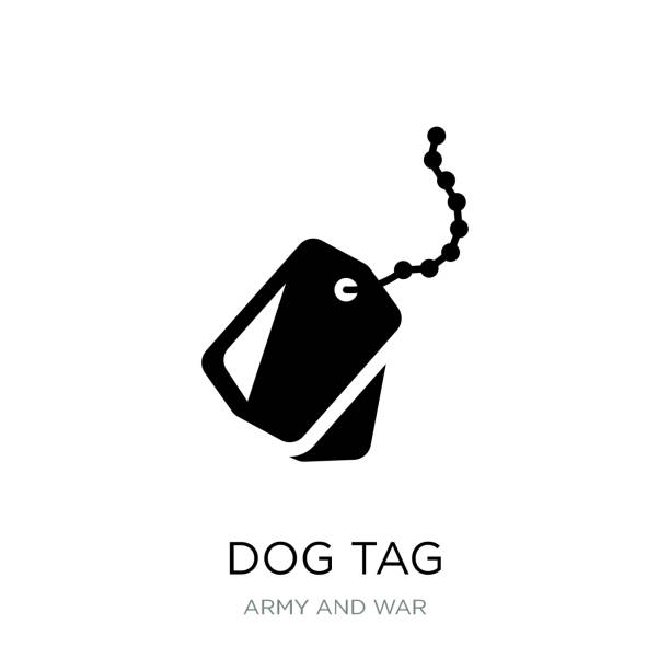 dog tag icon vector on white background, dog tag trendy filled icons from army and war collection - military stock illustrations
