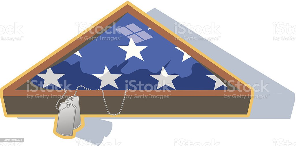 Dog Tags U S Flag In Box C vector art illustration