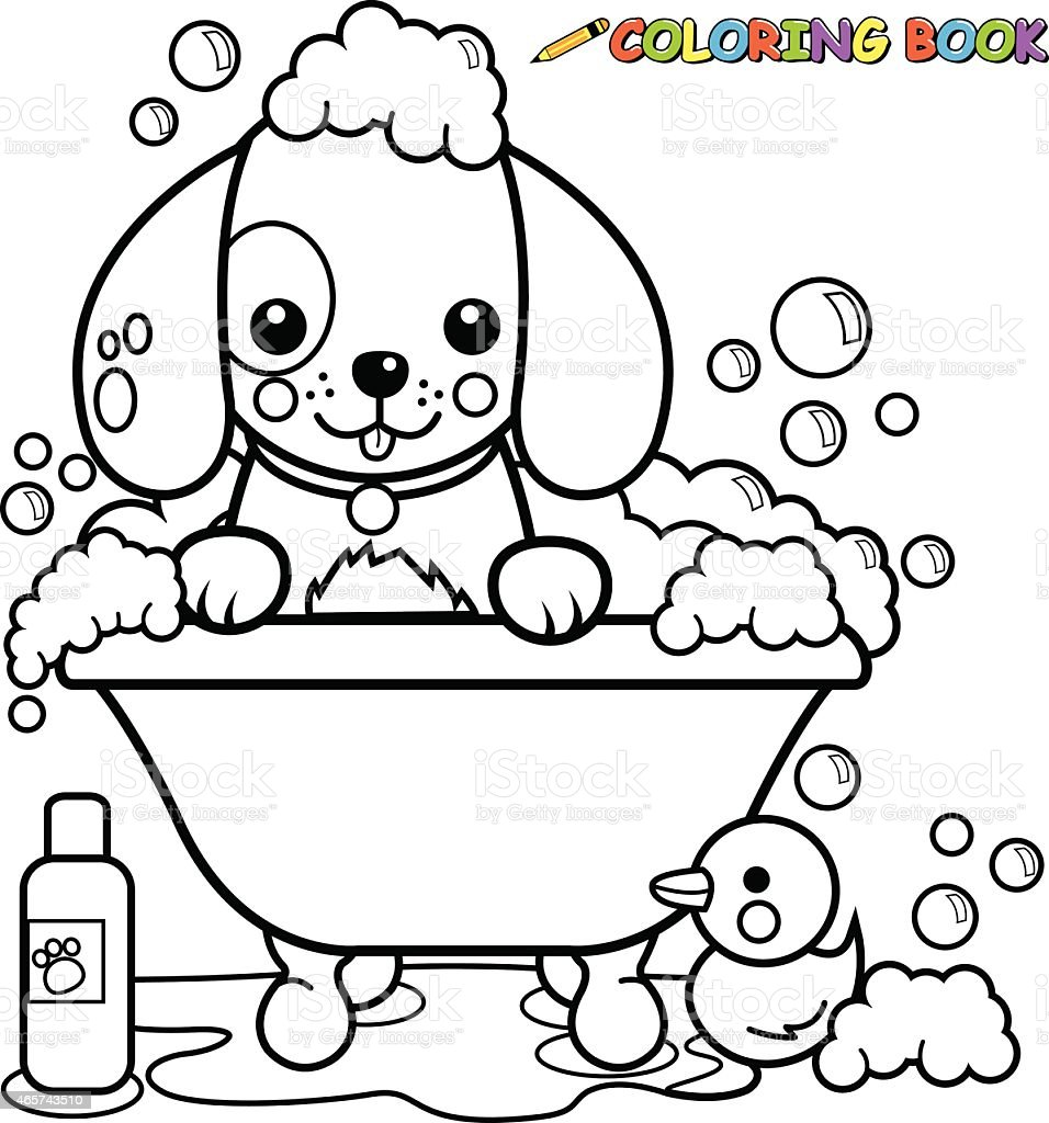 Dog taking a bath coloring book page vector art illustration
