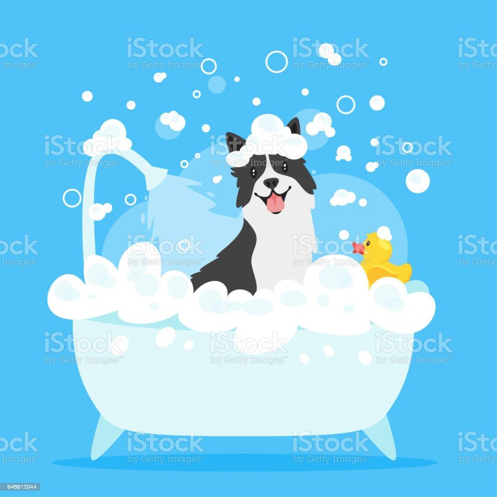 Cachorro tomando banho - ilustração de arte em vetor