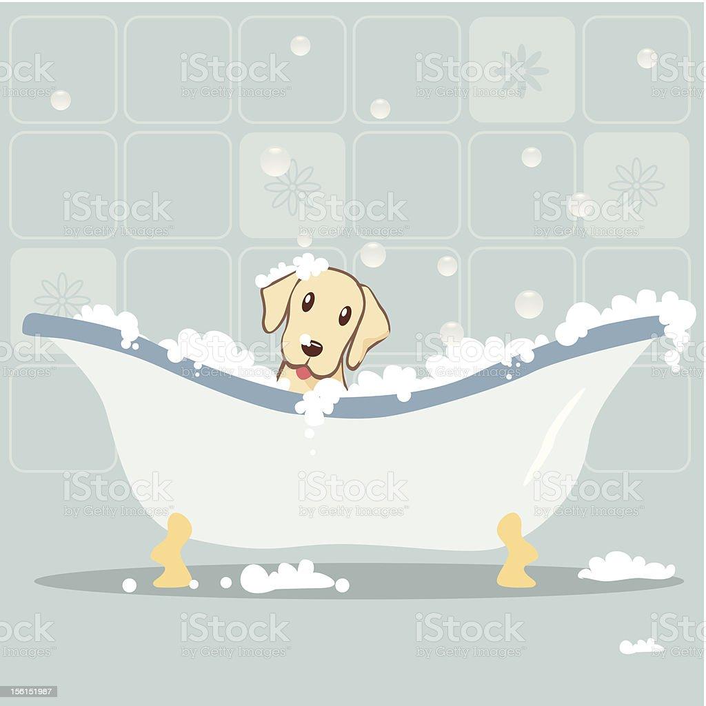 Dog taking Bubble Bath vector art illustration