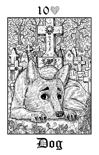 Dog. Tarot card from vector Lenormand Gothic Mysteries oracle deck.
