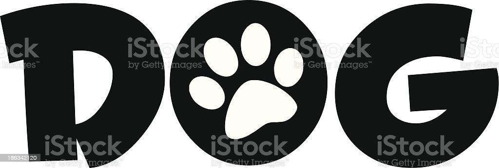 Dog Text With Black Paw Print royalty-free stock vector art
