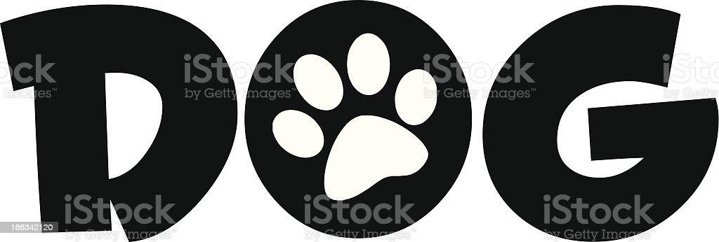 Dog Text With Black Paw Print