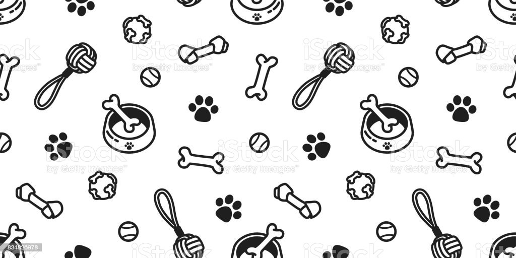 dog toy puppy. dog bone. dog paw. tennis ball. bowl doodle vector seamless pattern wallpaper background vector art illustration