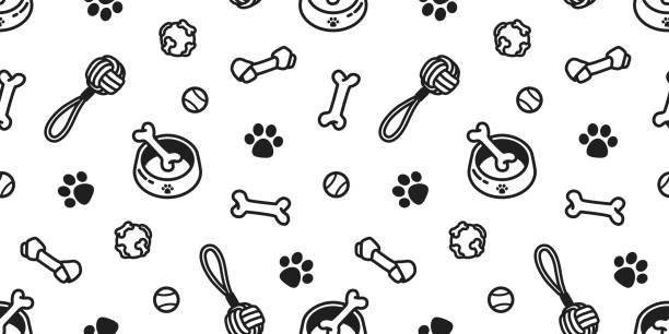 dog toy puppy. dog bone. dog paw. tennis ball. bowl doodle vector seamless pattern wallpaper background - pets stock illustrations, clip art, cartoons, & icons