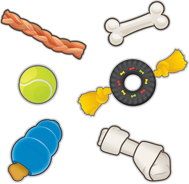 stockillustraties, clipart, cartoons en iconen met dog toys and treats - hondenkluif