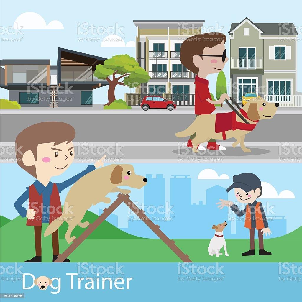 Dog trainer training vector illustration vector art illustration