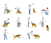 Dog training flat illustrations set