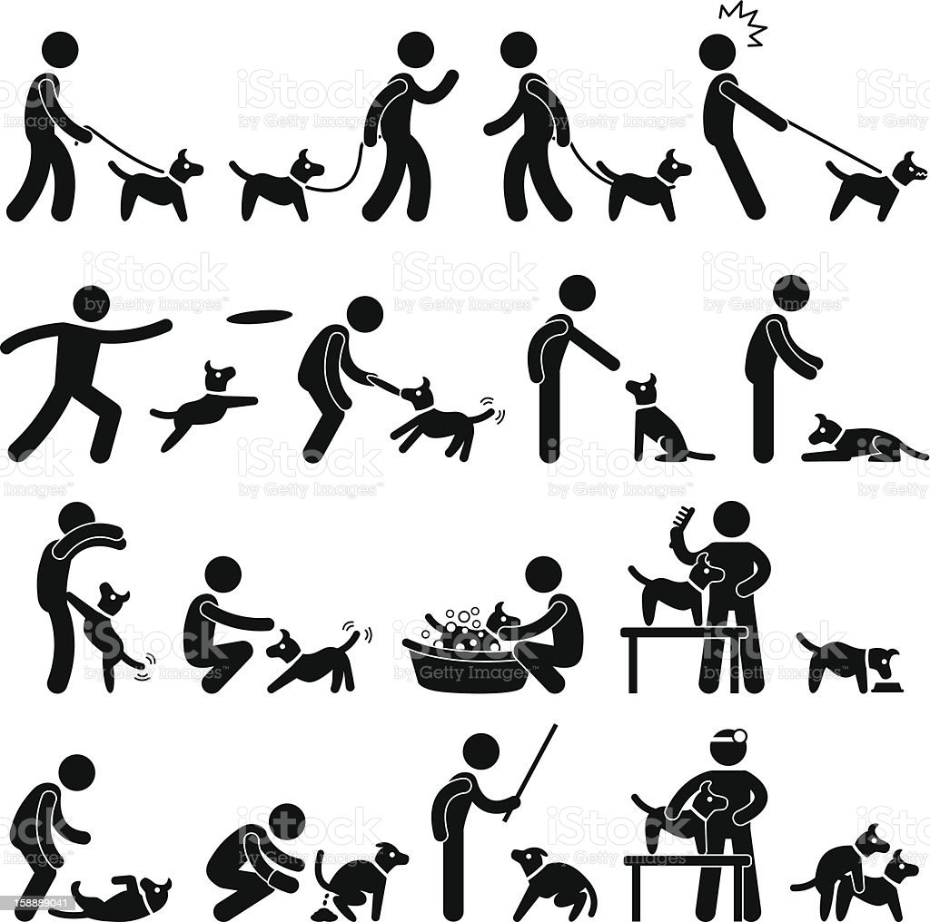 Dog Training Pictogram vector art illustration
