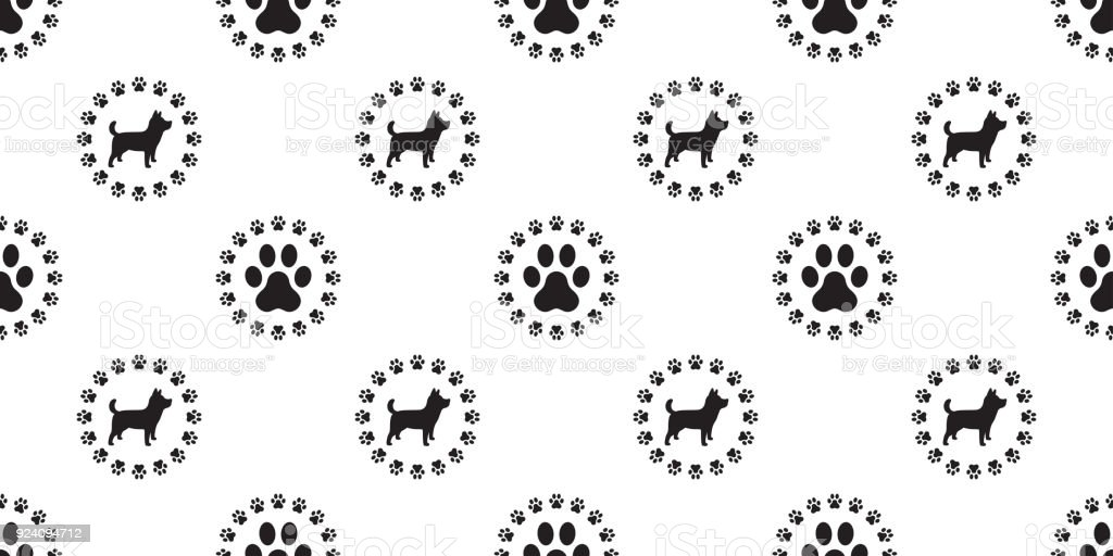 Dog Vector Dog Paw Seamless Pattern Isolated France Bulldog Puppy ...