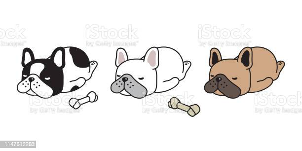 Dog vector french bulldog icon sleeping bone cartoon character puppy vector id1147612263?b=1&k=6&m=1147612263&s=612x612&h=eowrnwyfhuo0t 7ygyeau7oit eaxiefppvj9bgvejc=