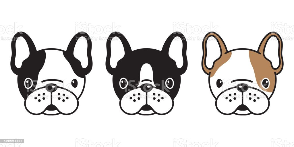 Dog Vector French Bulldog Pug Head Logo Icon Illustration Cartoon