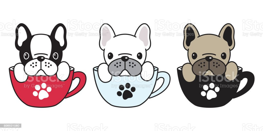 Dog Vector French Bulldog Pug Illustration Dog Bone Coffee Cup