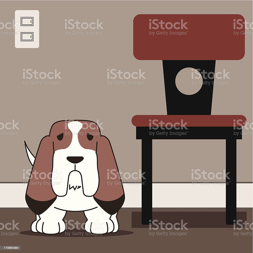 Dog(Basset hound) royalty-free stock vector art