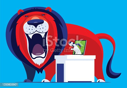 vector illustration of dog video chatting with  roaring lion via laptop